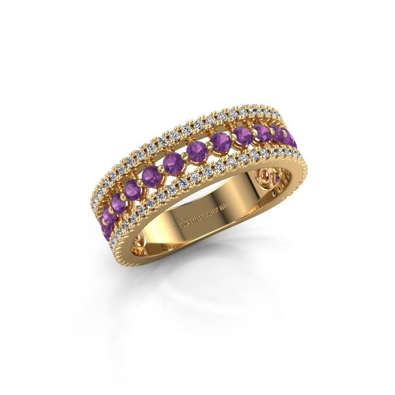 Verlovingsring Elizbeth 1 375 goud amethist 2 mm