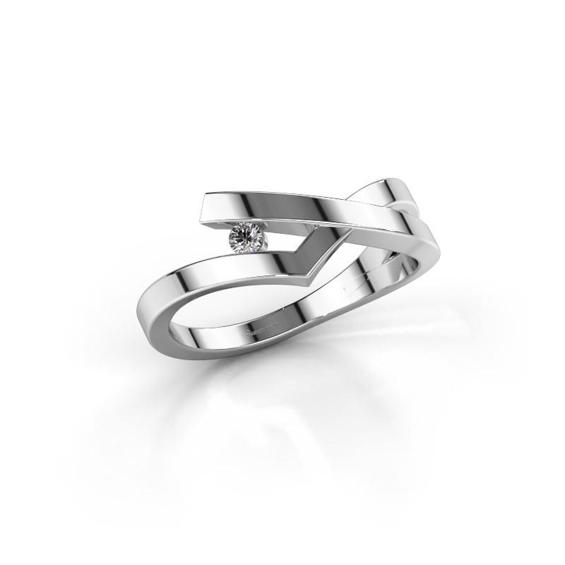 Ring Pamella 585 witgoud lab-grown diamant 0.045 crt