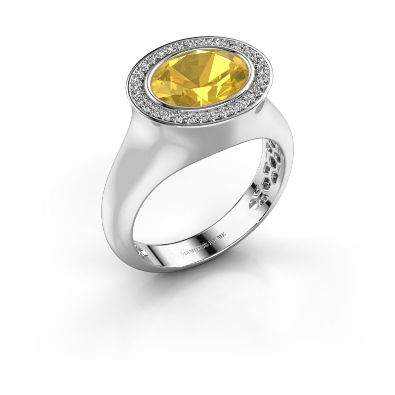 Ring Phebe 375 witgoud gele saffier 10x8 mm