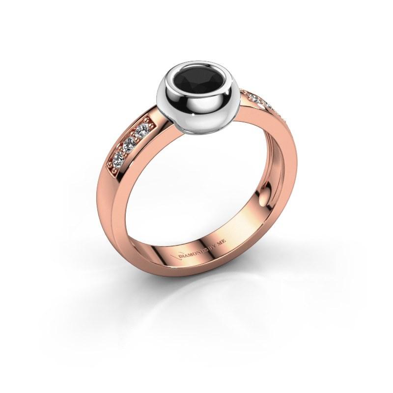 Ring Charlotte Round 585 rosé goud zwarte diamant 0.60 crt