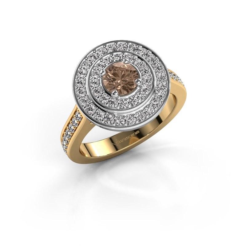 Ring Alecia 2 585 goud bruine diamant 1.338 crt