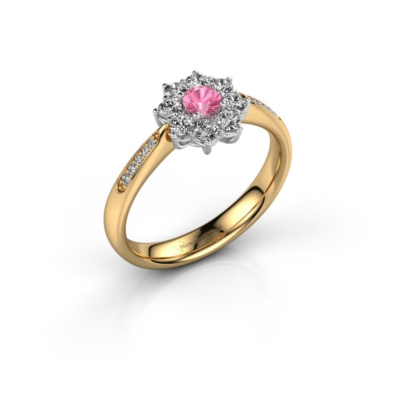 Verlovingsring Carolyn 2 585 goud roze saffier 3.4 mm