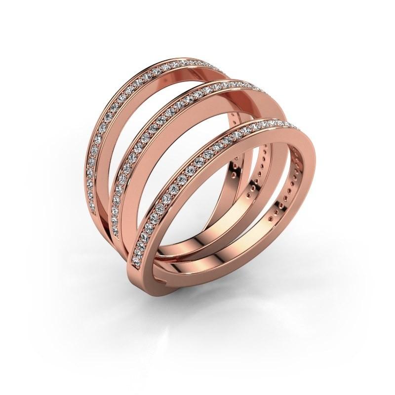 Ring Jaqueline 375 rosé goud zirkonia 1 mm