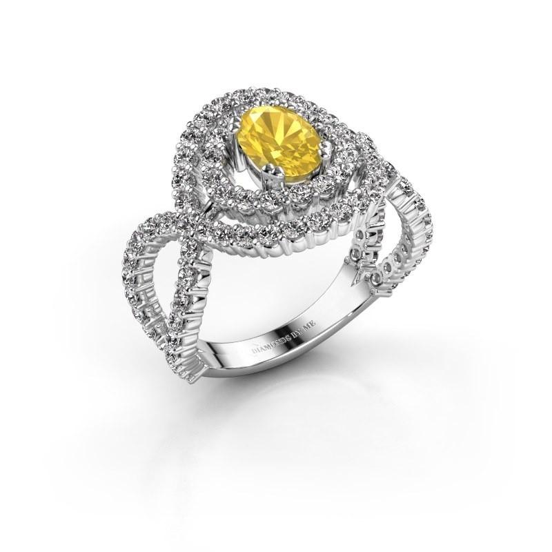Ring Chau 925 zilver gele saffier 7x5 mm