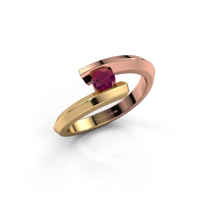 Ring Paulette 585 rose gold rhodolite 3.4 mm