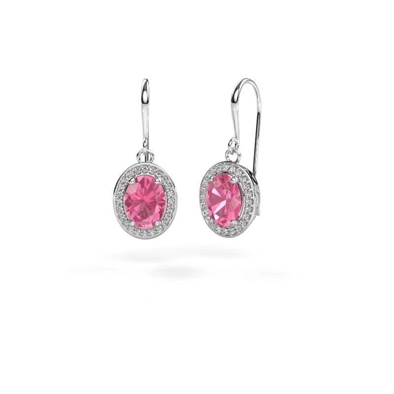 Drop earrings Latesha 375 white gold pink sapphire 8x6 mm