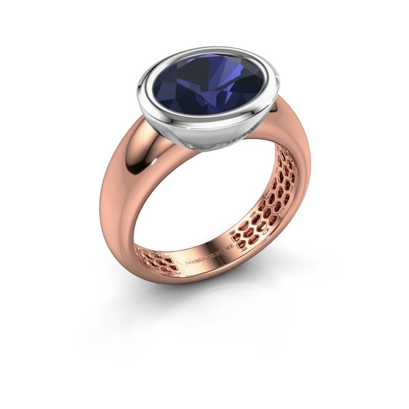 Ring Evelyne 585 rosé goud saffier 10x8 mm