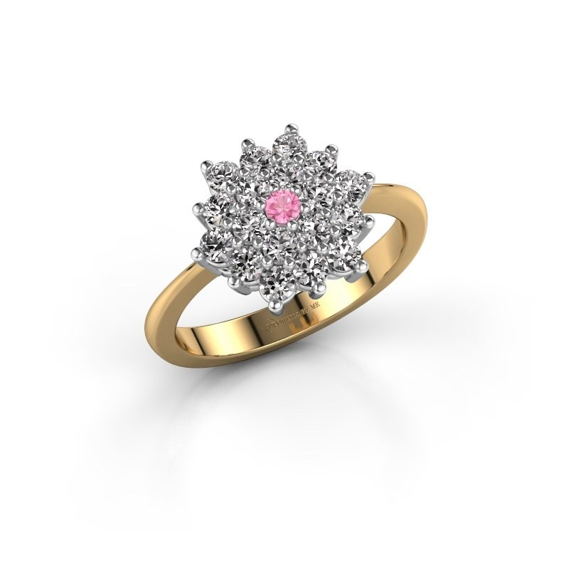 Engagement ring Vickey 2 585 gold pink sapphire 2 mm