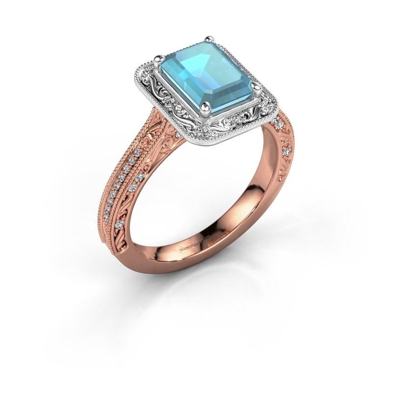 Verlovings ring Alice EME 585 rosé goud blauw topaas 7x5 mm
