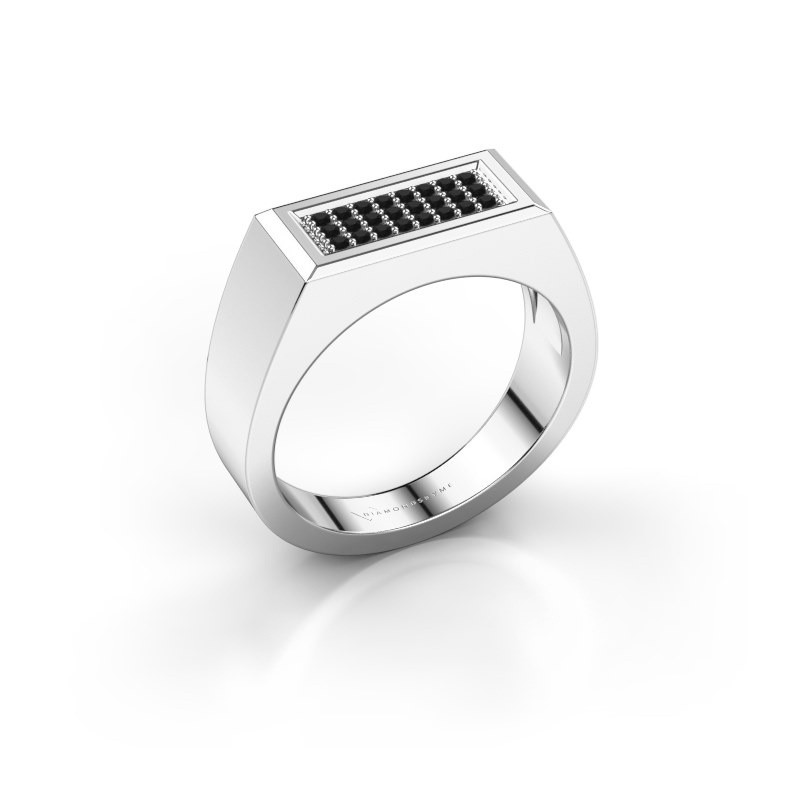 Herrenring Dree 6 925 Silber Schwarz Diamant 0.192 crt