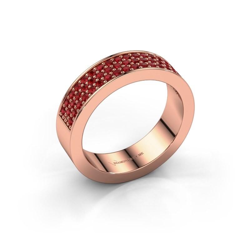Ring Lindsey 4 375 rosé goud robijn 1.3 mm