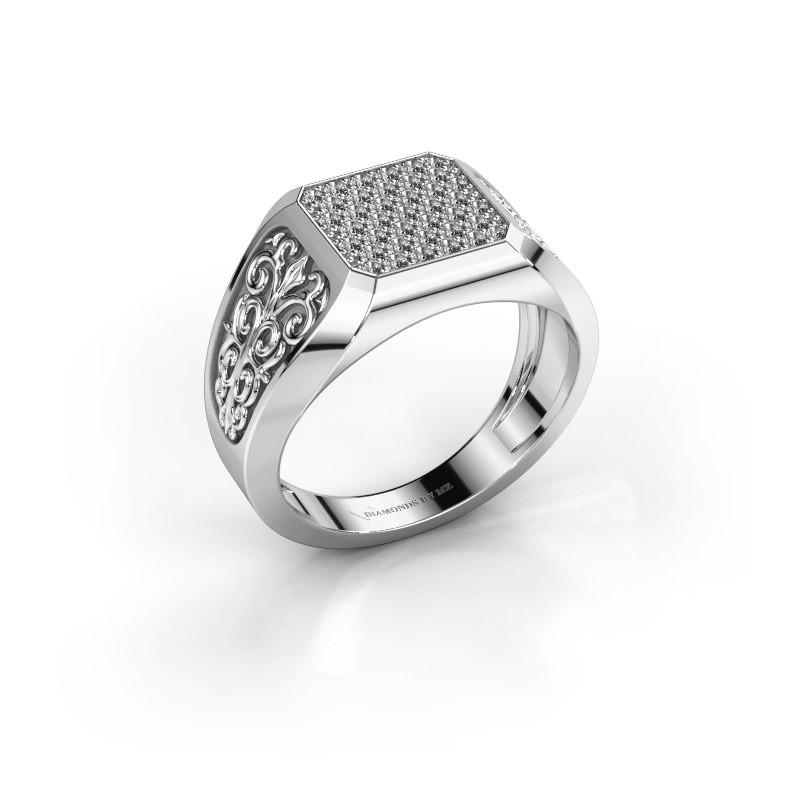 Heren ring Amir 950 platina zirkonia 1.4 mm