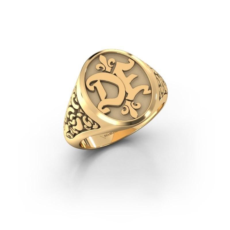 Monogram ring Brian 585 goud