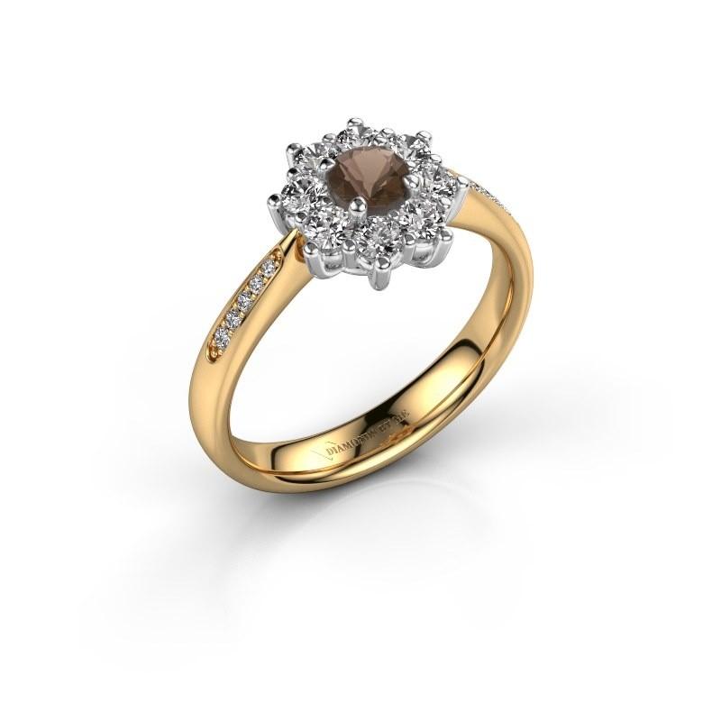Verlovingsring Carolyn 2 585 goud rookkwarts 3.4 mm