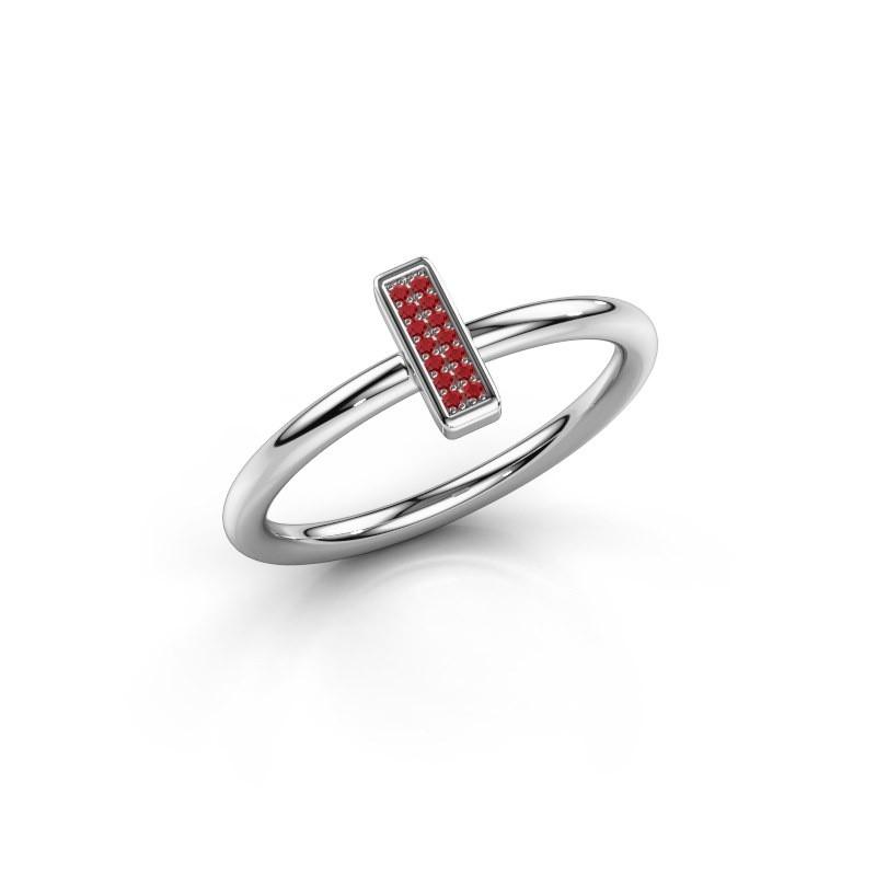 Ring Shape stripe small 950 platina robijn 0.8 mm