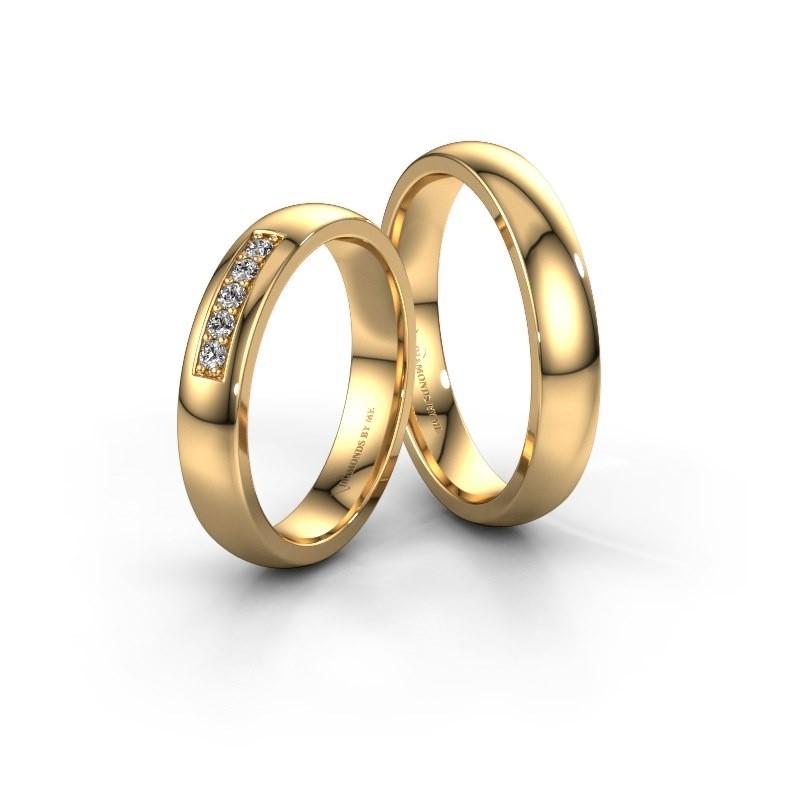 Trouwringen set WH0111LM24BP ±4x2 mm 14 karaat goud diamant 0.02 crt