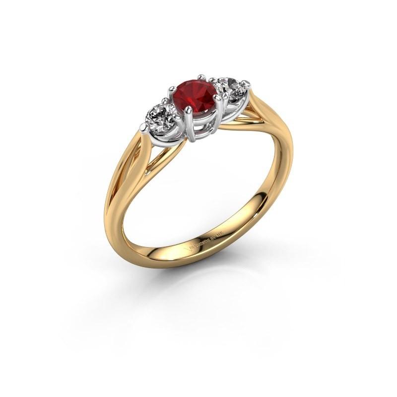 Verlovingsring Amie RND 585 goud robijn 4.2 mm