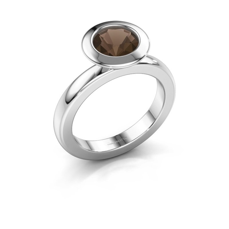 Stacking ring Trudy Round 585 white gold smokey quartz 7 mm