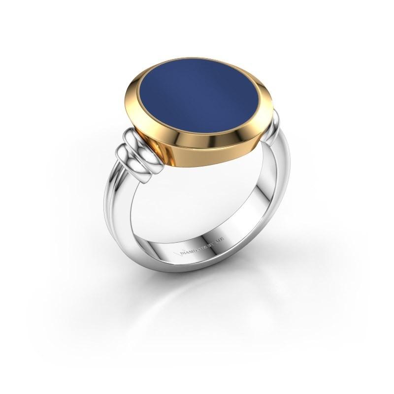 Zegelring Jake 4 585 witgoud lapis lazuli 15x13 mm
