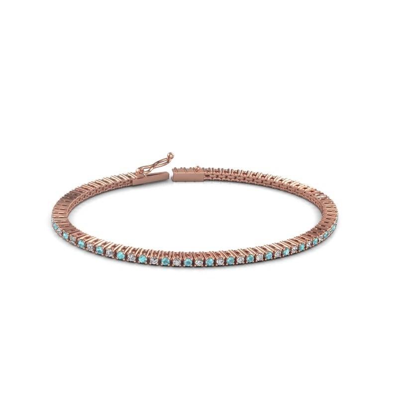 Tennis bracelet Simone 375 rose gold blue topaz 2 mm