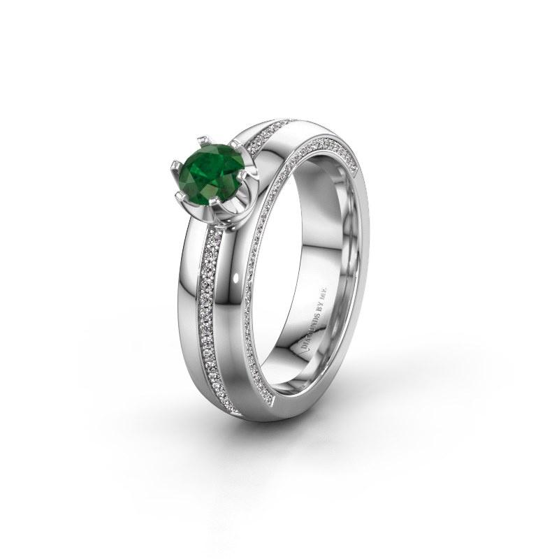 Huwelijksring WH0416L25E 585 witgoud smaragd ±5x2.6 mm