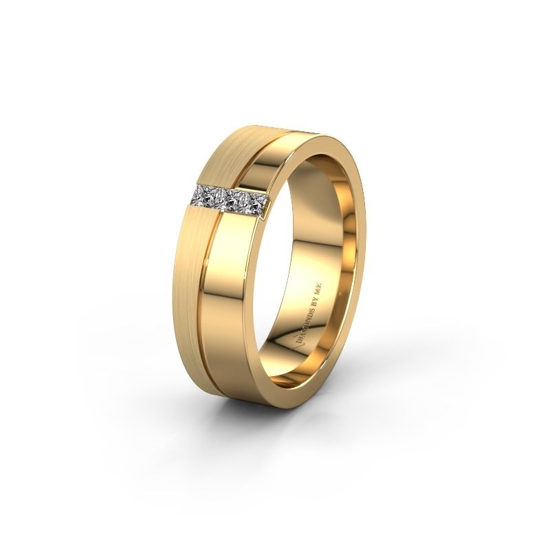 Wedding ring WH0906L16A 585 gold zirconia ±0.24x0.07 in