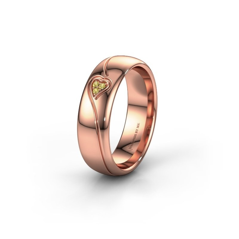 Wedding ring WH0168L36AP 375 rose gold yellow sapphire ±6x1.7 mm