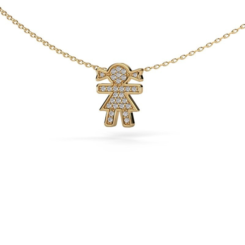 Collier Girl 375 goud zirkonia 1 mm