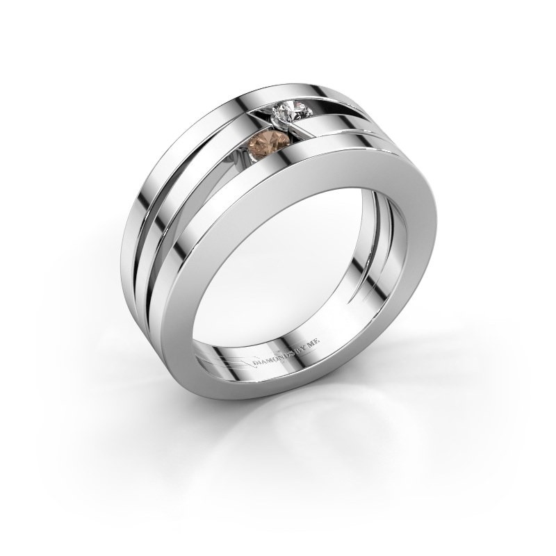 Ring Valerie 585 witgoud bruine diamant 0.16 crt