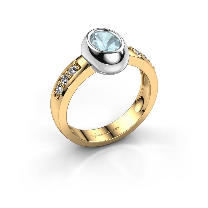 Ring Charlotte Oval 585 gold aquamarine 7x5 mm