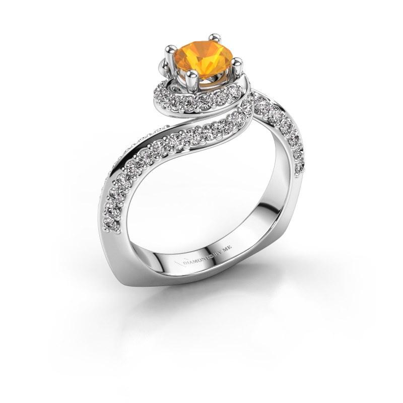 Engagement ring Sienna 950 platinum citrin 5 mm