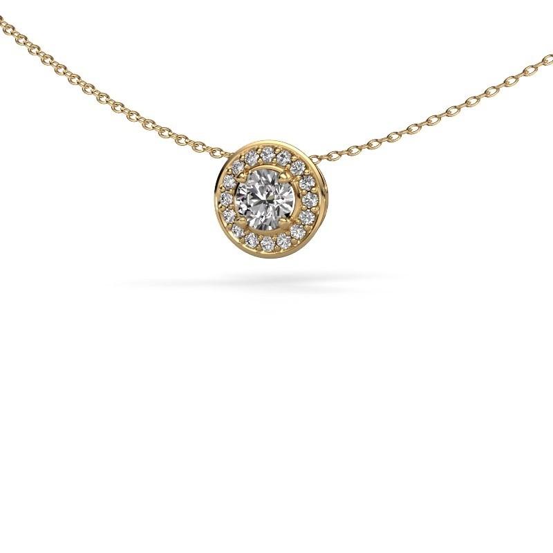 Hanger Agaat 375 goud zirkonia 5 mm