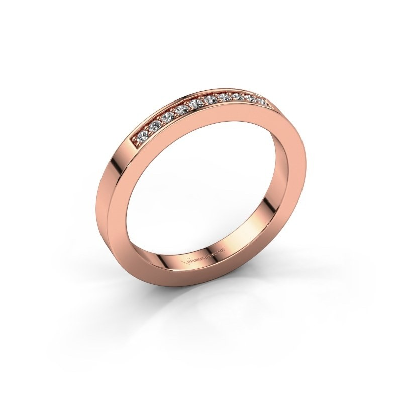 Stackable ring Loes 3 585 rose gold zirconia 1.3 mm