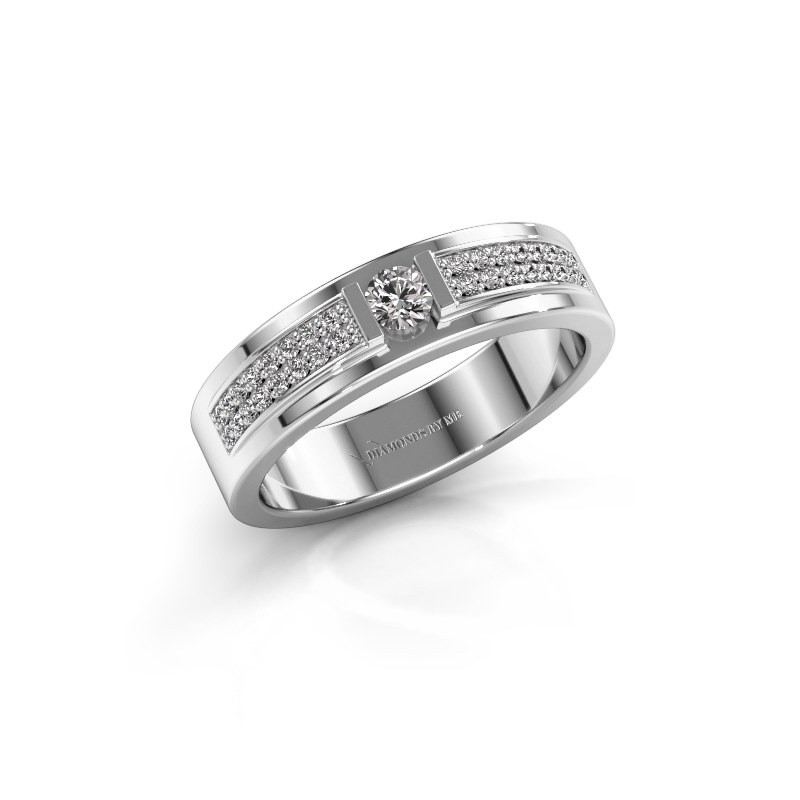 Ring Chanell 585 witgoud zirkonia 3 mm