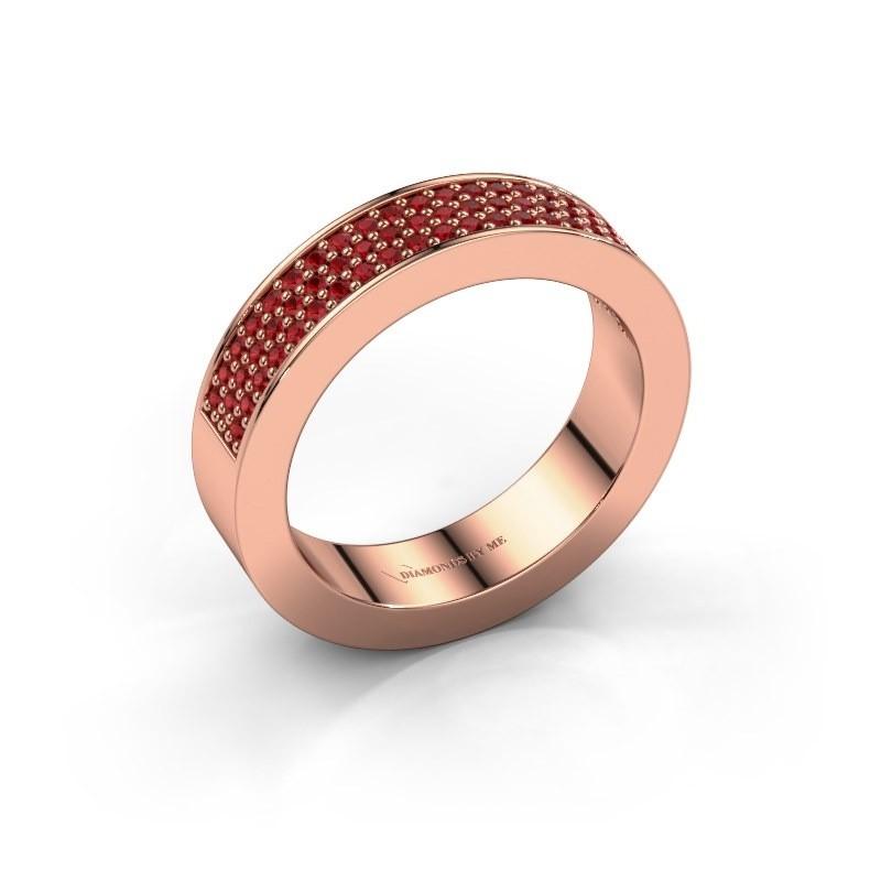 Ring Lindsey 2 375 rose gold ruby 1.1 mm