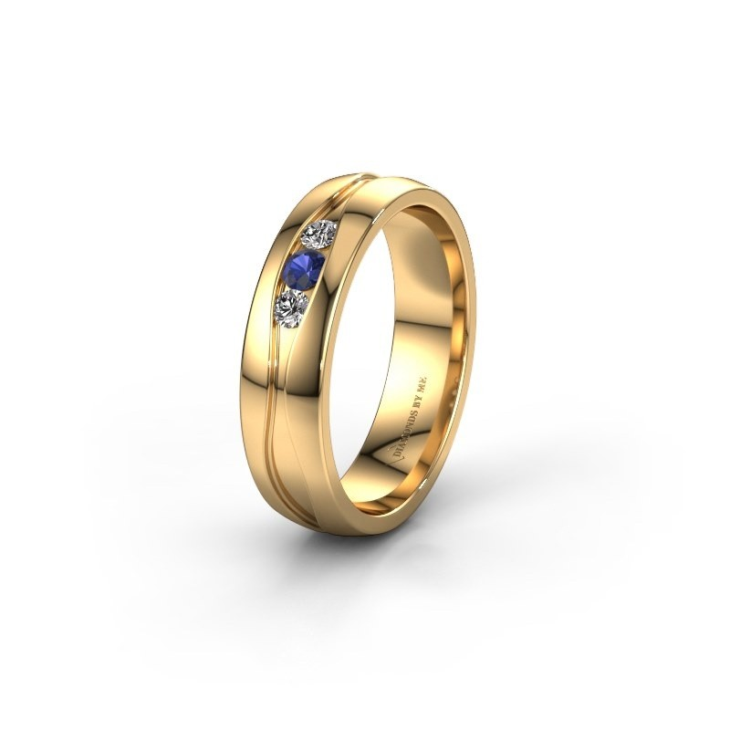 Wedding ring WH0172L25A 375 gold sapphire ±5x1.7 mm