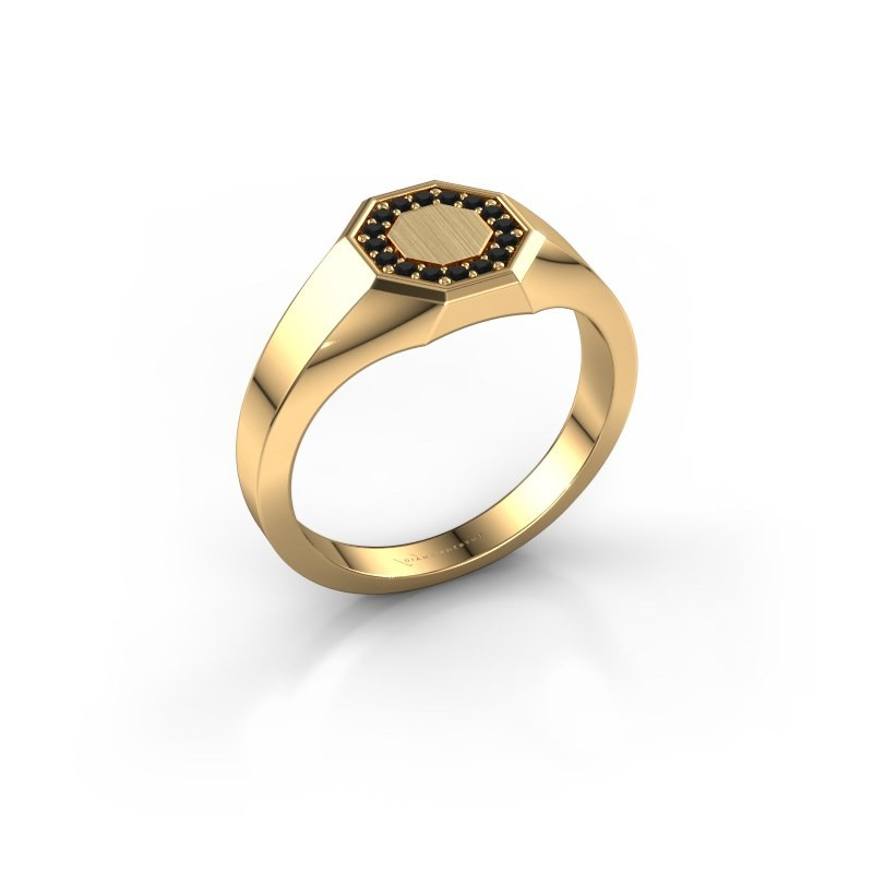 Pinkring Floris Octa 1 585 goud zwarte diamant 0.144 crt