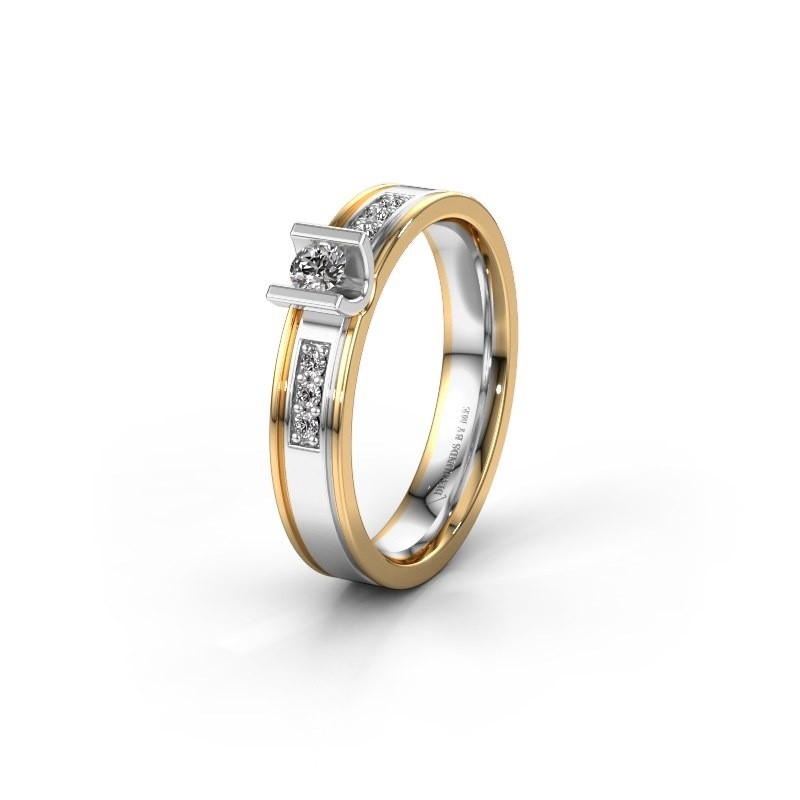 Trouwring WH2108L14A 585 witgoud lab-grown diamant ±4x1.7 mm