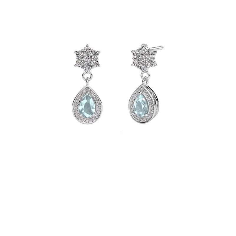 Drop earrings Era 375 white gold aquamarine 6x4 mm