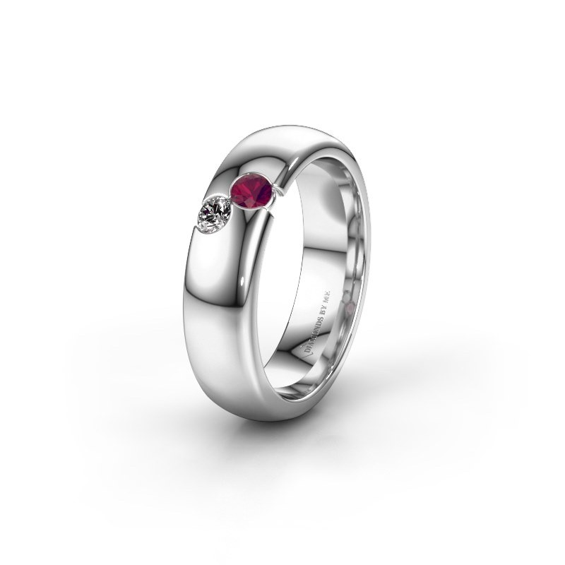 Wedding ring WH1003L26C 925 silver rhodolite ±6x2.2 mm