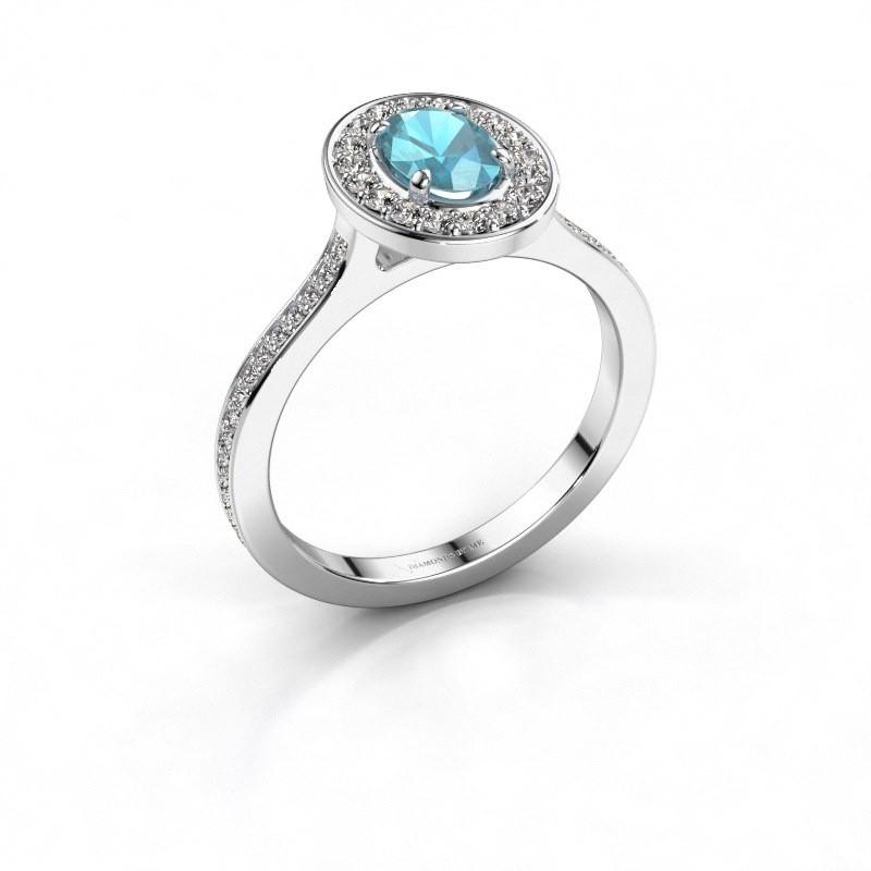 Ring Madelon 2 585 witgoud blauw topaas 7x5 mm