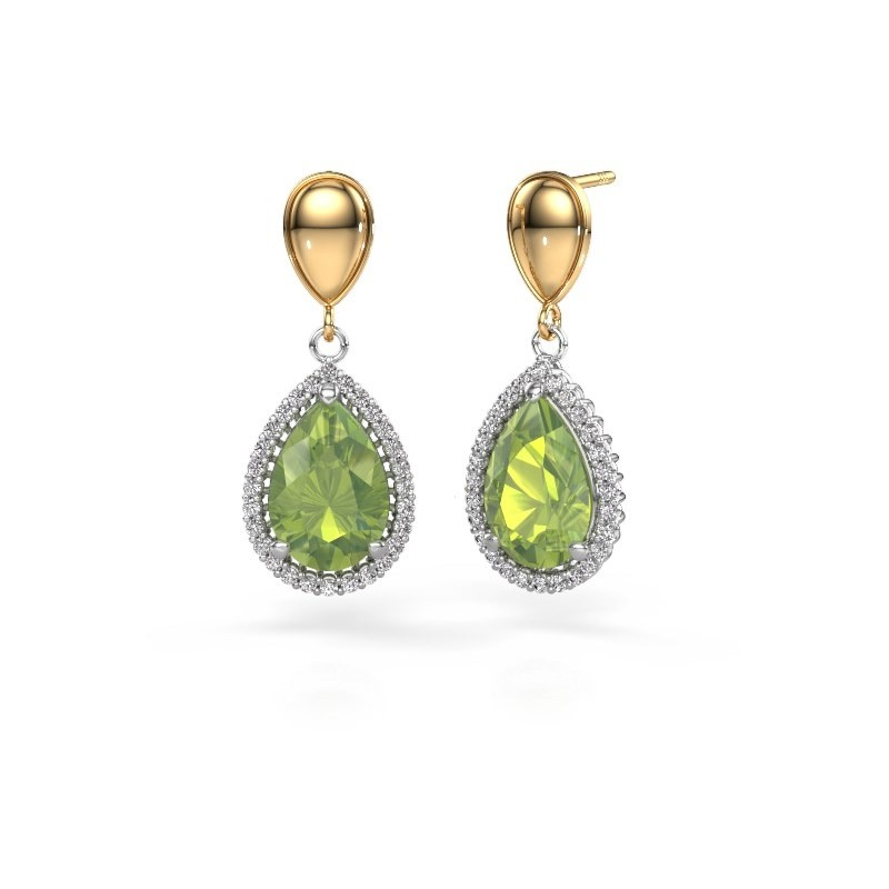 Drop earrings Cheree 1 585 white gold peridot 12x8 mm