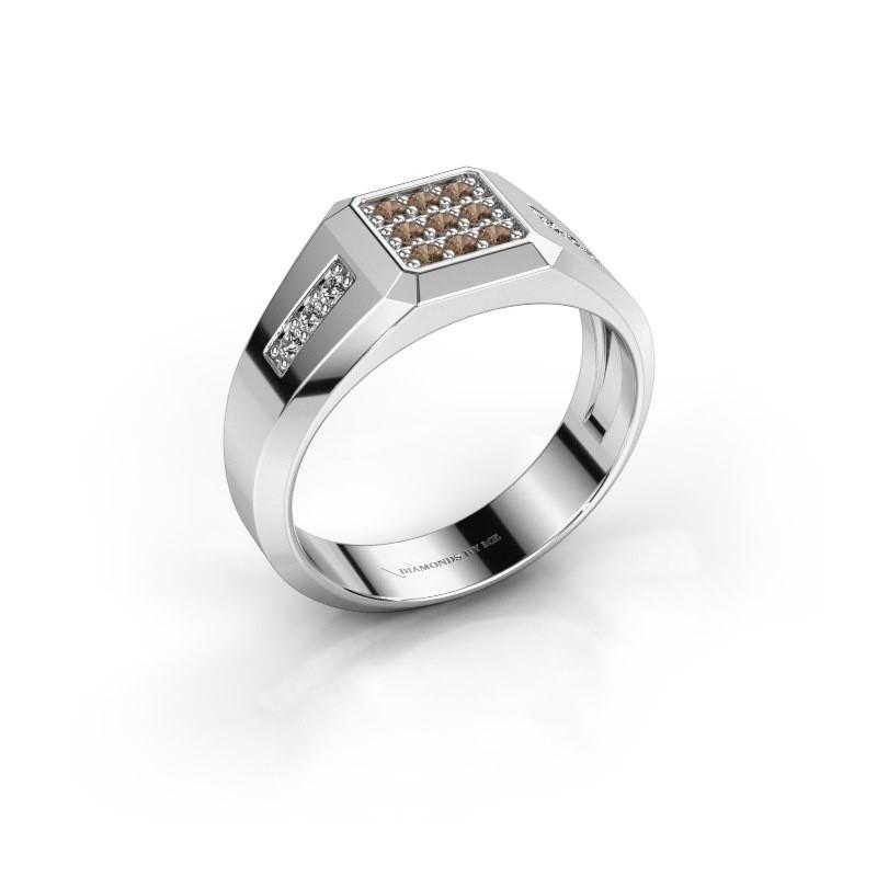 Pinky ring Bas 925 silver brown diamond 0.30 crt