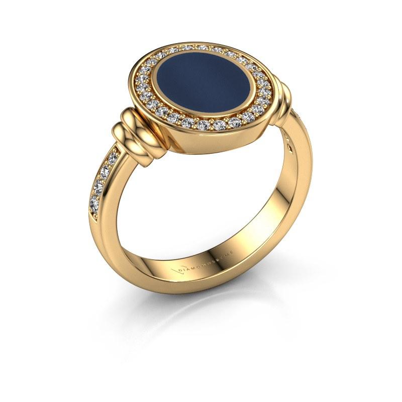Zegelring Bailey 585 goud donker blauw lagensteen 10x8 mm