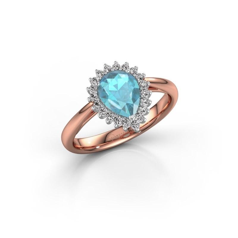 Verlovingsring Tilly per 1 585 rosé goud blauw topaas 8x6 mm