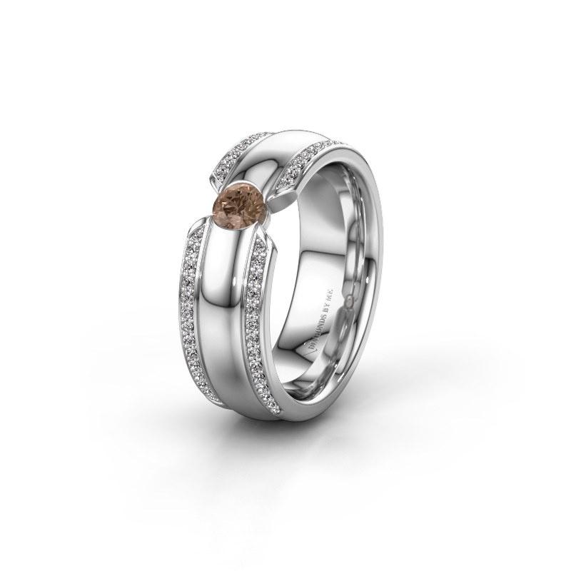 Ehering WHR0575L 585 Weißgold Braun Diamant ±7x2 mm
