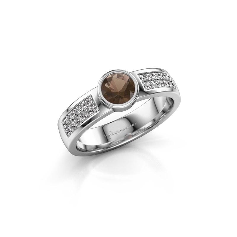 Engagement ring Ise 3 925 silver smokey quartz 4.7 mm