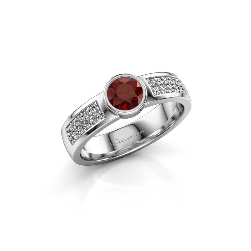 Engagement ring Ise 3 925 silver garnet 4.7 mm