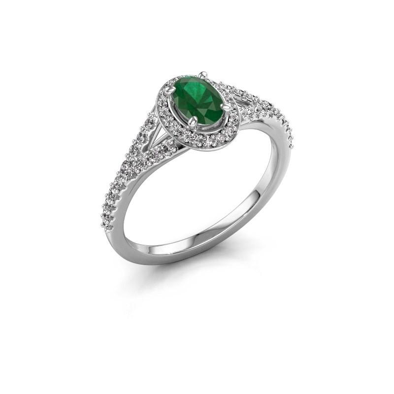 Belofte ring Pamela OVL 585 witgoud smaragd 7x5 mm