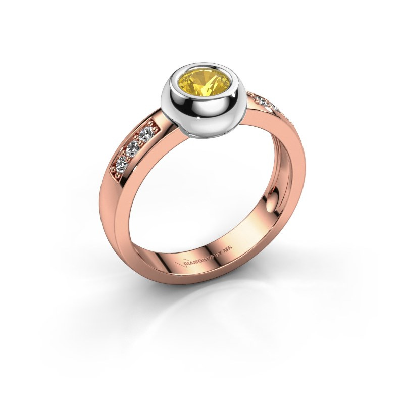 Ring Charlotte Round 585 rosé goud gele saffier 4.7 mm